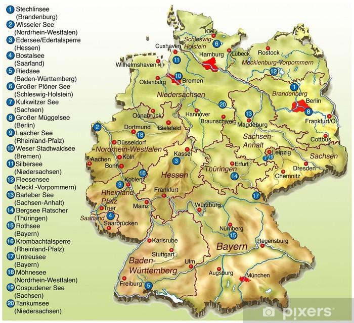 Bade Seen In Deutschland Landkarte Sticker Pixers We Live To