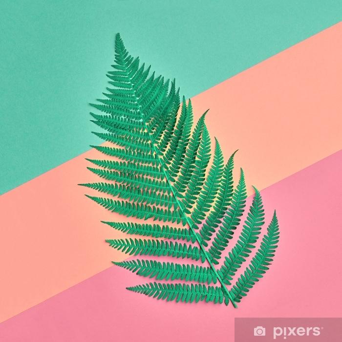 Pixerstick Sticker Bloemen laat mode concept. varen tropisch groen blad. levendig ontwerp. kunstgallerij. creatieve felle kleur. minimale stijl. zomer modieuze achtergrond. plat leggen - Levensstijl