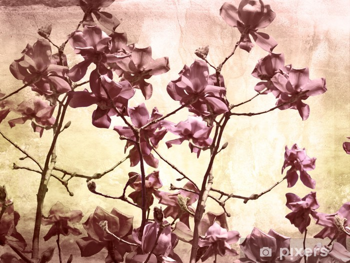 Pixerstick Sticker Artistieke achtergrond met magnolia - Thema's