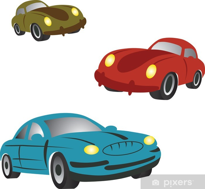 Set of icons with cartoon cars. wall mural u2022 pixers® we live to change