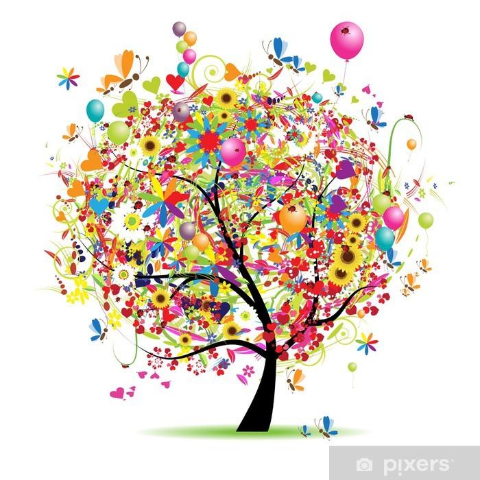 Zelfklevend Fotobehang Happy vakantie, grappig boom met ballonnen -
