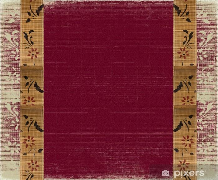 Carta Da Parati Floral Bandiera Di Bambù Cornice Su Sfondo Rosso