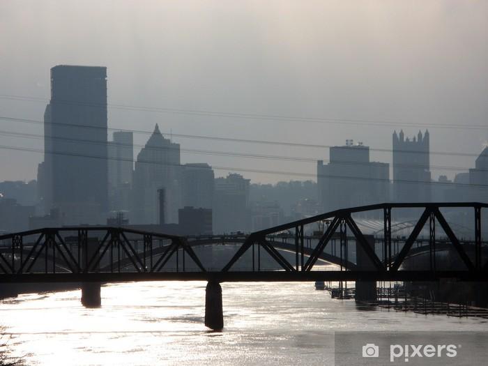 Papier peint vinyle Dowtown Pittsburgh et pont ferroviaire - Amérique