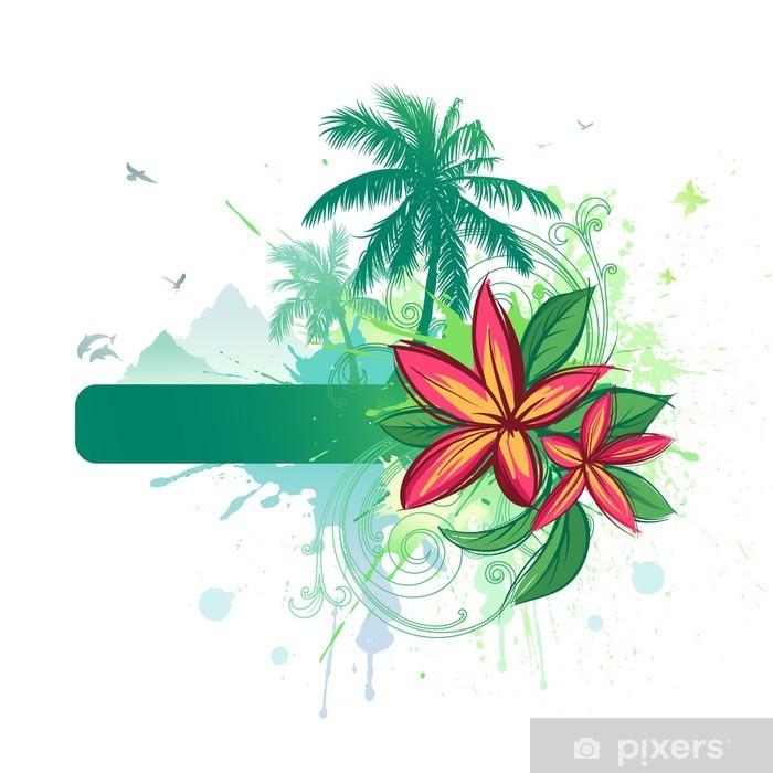 Plakát Tropické abstraktní pozadí - Stromy a listí
