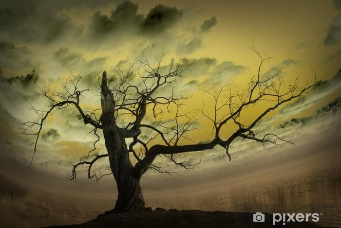 Papier peint vinyle Tableau abstrait avec arbre nu - Arbres