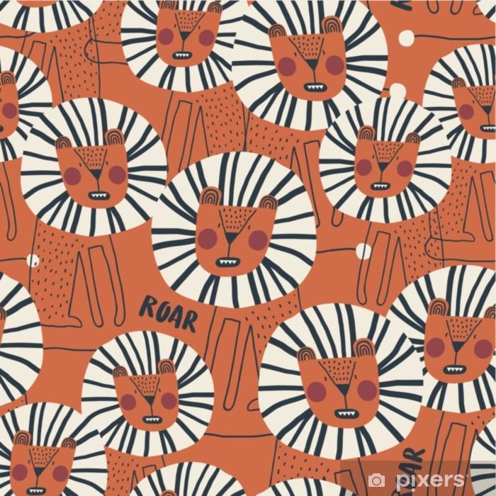 43db536f6 Fototapet av vinyl Søt sømløs mønster med farlig løve. perfekt for  barneklær, stoff, tekstil, barnehageutsmykning, innpakningspapir. trendy ...