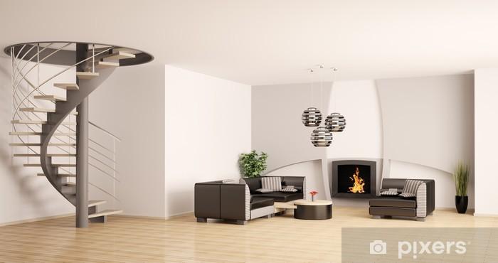 Fototapete Wohnzimmer mit treppe und kamin 3d