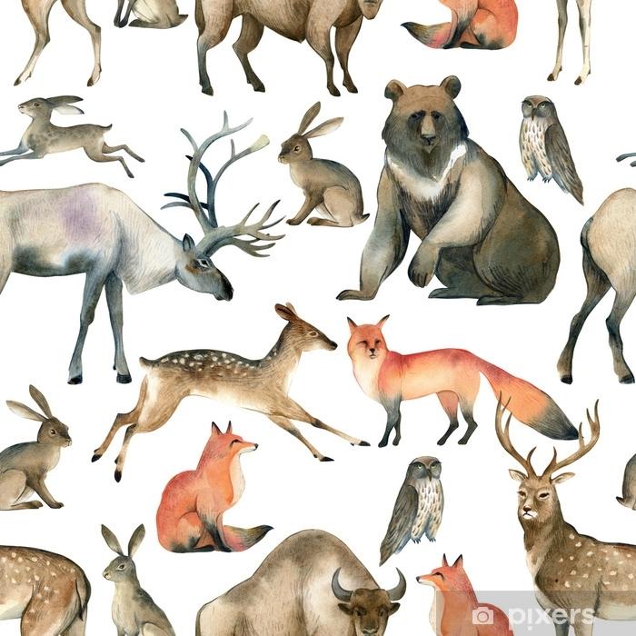 Poster Esboco De Animal Aquarela Floresta Realista Padrao De