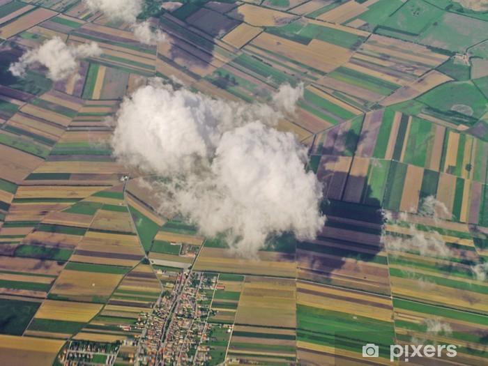 Naklejka Pixerstick Widok z lotu ptaka na pola uprawne - Rolnictwo