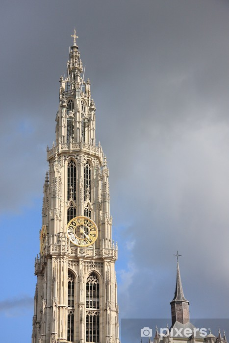 Gothic Tower Of Cathedral Of Our Lady In Antwerp Belgium Wall Mural Pixers We Live To Change
