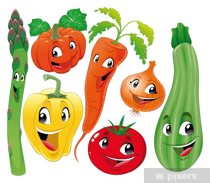 Vinilo Verduras De La Familia Divertidos Dibujos Animados Y Personajes De Vectores Pixerstick