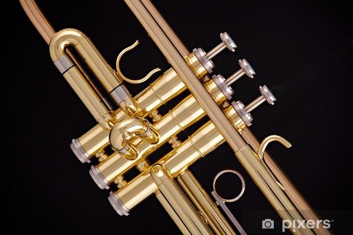 Nálepka Pixerstick Zlaté trubka izolovaných na černém - Hudba