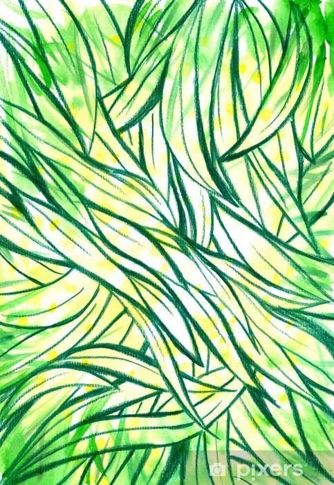 Fototapeta winylowa Tło z zielonej trawy i liści akwarela malowane. - Pory roku
