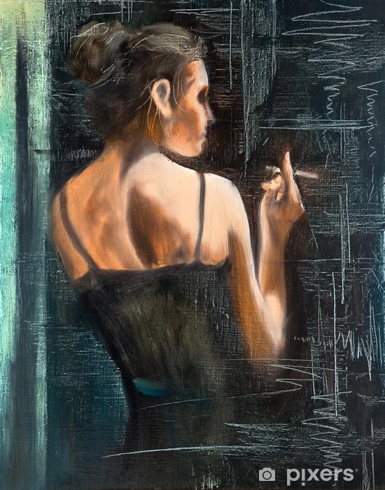 Papier peint vinyle Portrait de la femme avec une cigarette - Thèmes