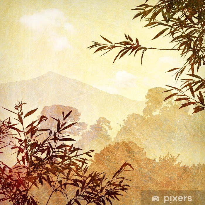 Carta da Parati in Vinile Un Artistico Grunge Sudice Paesaggio con alberi - Campagna