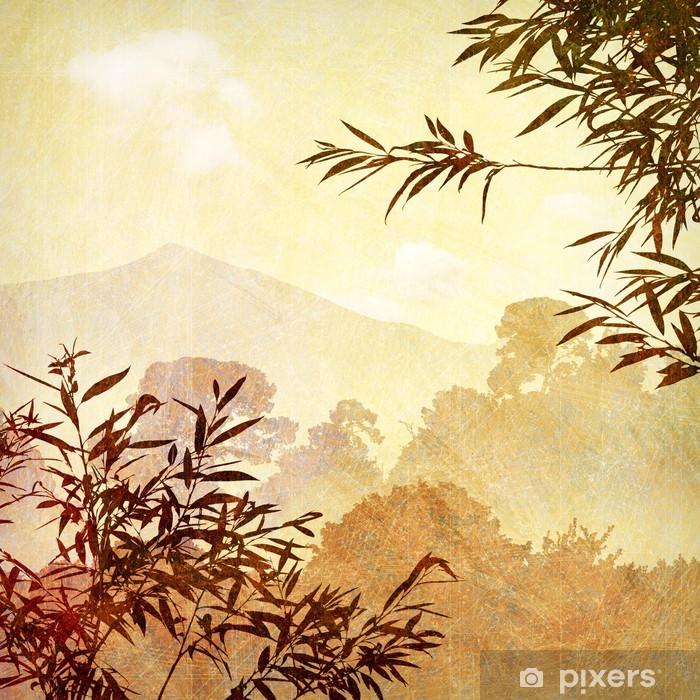 Fotomural Estándar Un Sucias Paisaje artístico Grunge con los árboles - Campos