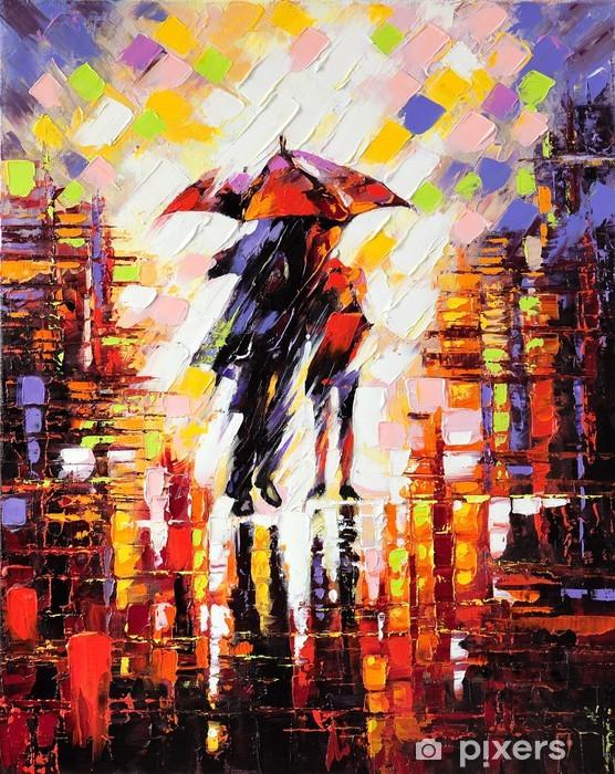 Vinil Duvar Resmi Bir şemsiye altında aşık iki -