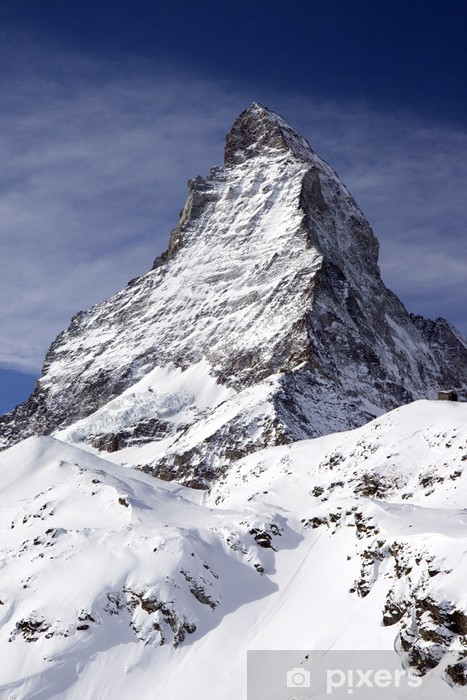 Matterhorn view from the mountains Vinyl Wall Mural - Winter