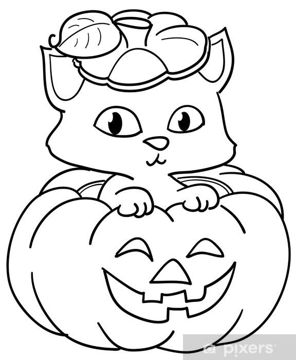 Fotobehang Kat In Een Halloween Pompoen Kleurplaat Pixers We