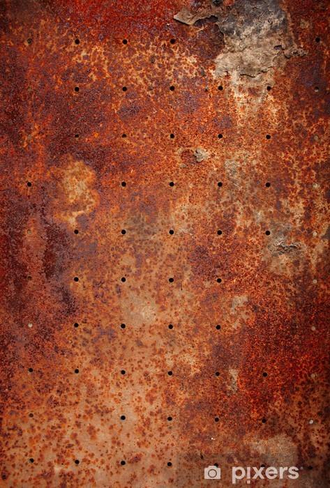 Vinilo Pixerstick Textura de metal viejo con agujeros redondos - Texturas
