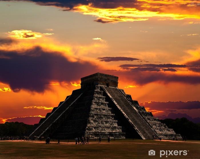 The temples of chichen itza temple in Mexico Pixerstick Sticker - America
