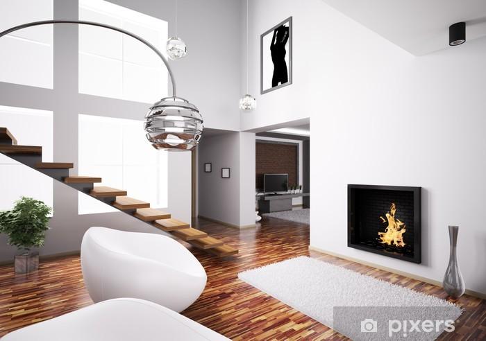 Fototapeta winylowa Wnętrze z kominkiem i 3d schody - Budynki prywatne