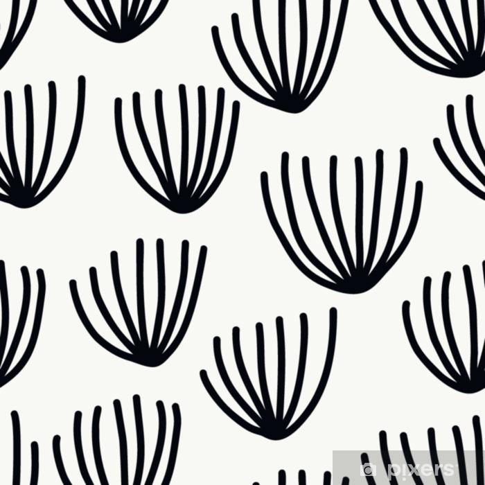 Fototapet av vinyl Sømløs mønster med moderne blomster og abstrakte elementer i friske pastellfarger. - Hobby og Fritid