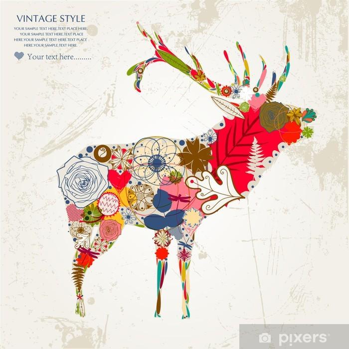 Vinyl Fotobehang Deer - Gelukkig
