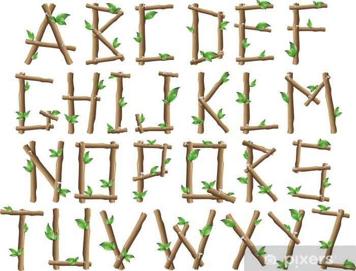 Pixerstick Sticker Alfabeto Albero-Boom Alphabet-Vector - Thema's