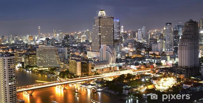 Naklejka Pixerstick Nocny widok z mostu Taksin - Inne