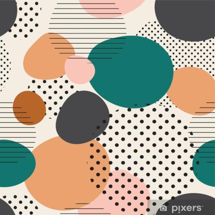 Lichtdurchlässiger Fenstervorhang Trendiges nahtloses Muster von geometrischen Formen und Kritzeleien. bunte Muster Memphis-Stil - Grafische Elemente
