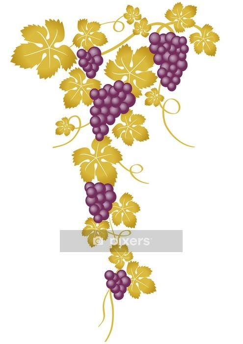 Muursticker Tros Paarse Druiven En Goud Pixers We Leven Om Te Veranderen