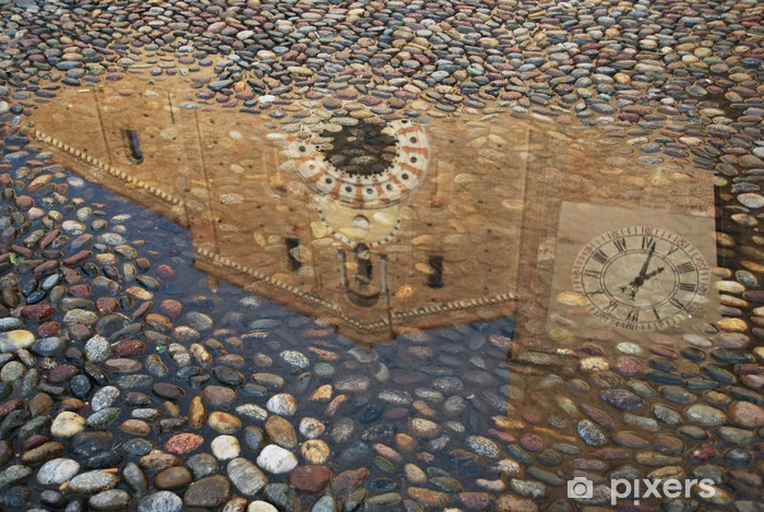 Reflection of a church in a puddle, Lodi, Italy Vinyl Wall Mural - Public Buildings