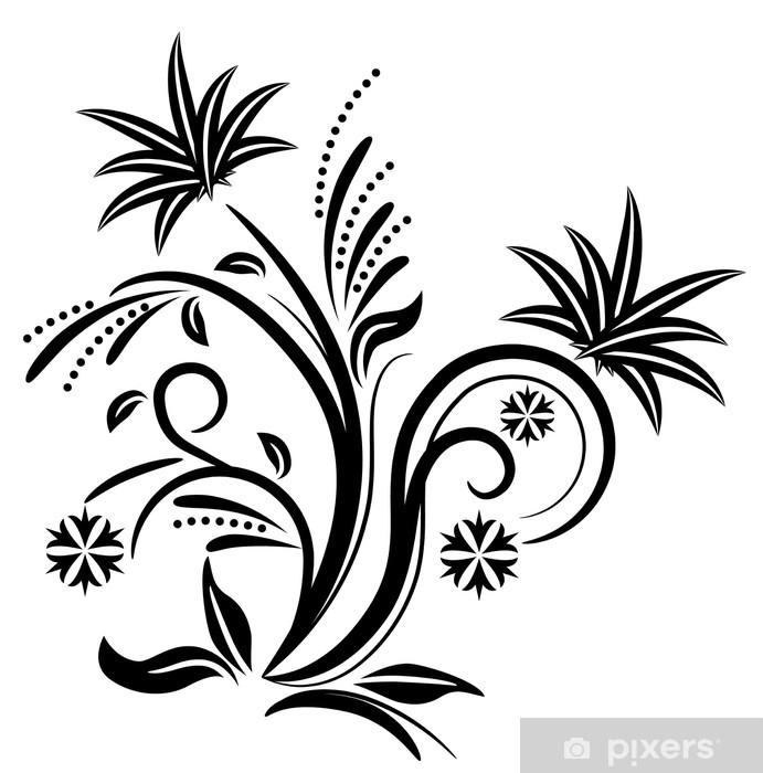 Stencil Shabby Chic Da Stampare.Black Stylized Flower Sticker Pixers We Live To Change