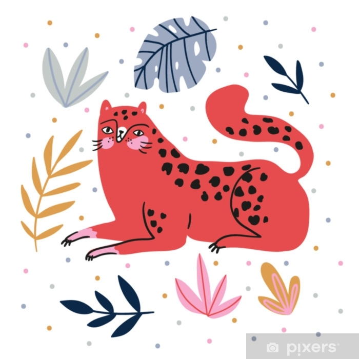 Hand-drawn illustration with wild cat and tropical leaves on the polka dots background - for home decor, t-shirt print, poster, greeting card. Creative cute vector illustration with leopard. Poster - Animals