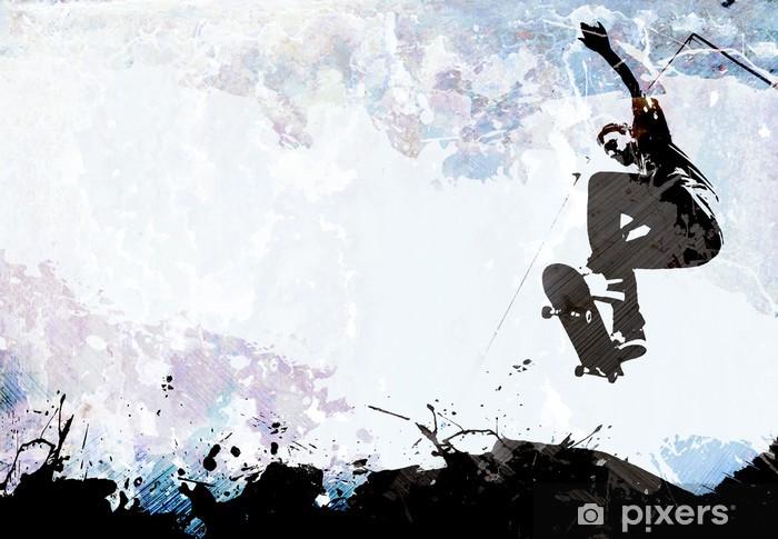 Papier peint vinyle Mise à roulettes grunge - Skateboarding
