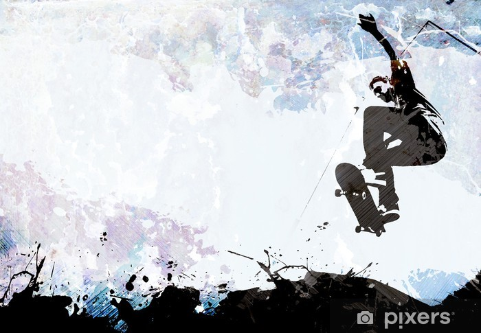 Skateboarding Grunge Layout Vinyl Wall Mural - Skateboarding