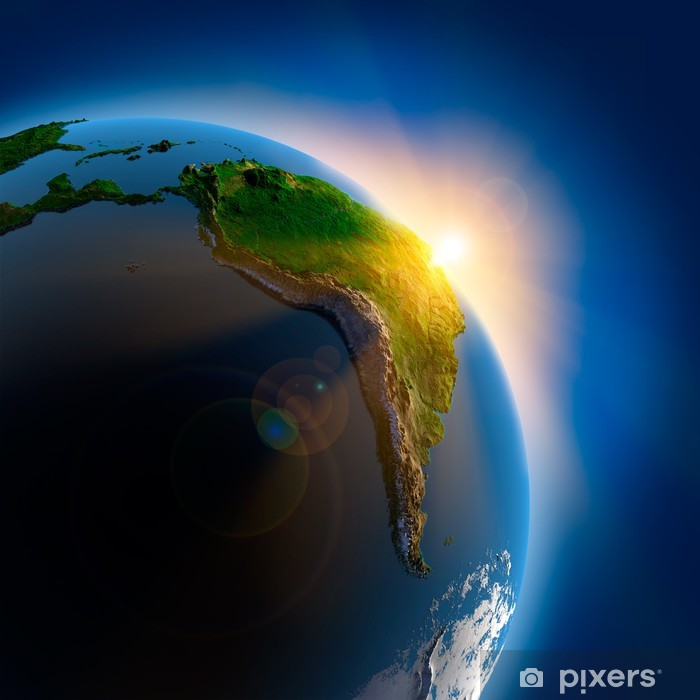 Pixerstick Aufkleber Sonnenaufgang über der Erde im Weltraum - Erde