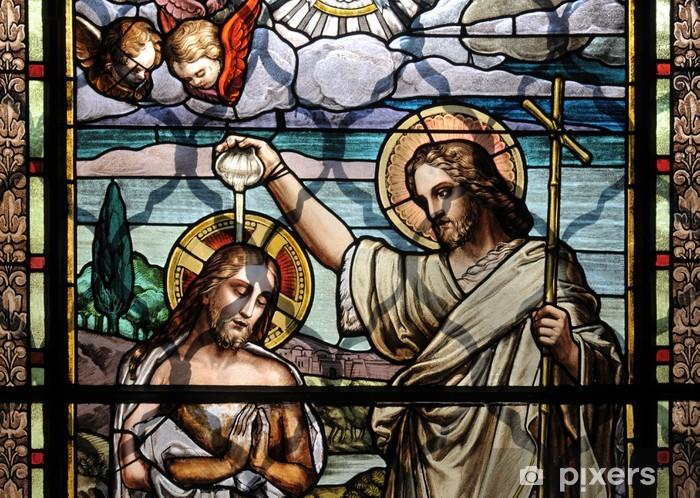 Jesus Christ baptism by Saint John the Baptist Pixerstick Sticker - Art and Creation
