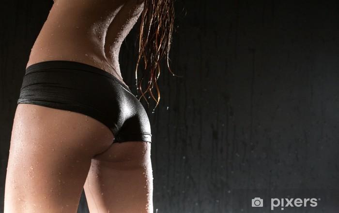 beauty woman wet ass Pixerstick Sticker - Lingerie
