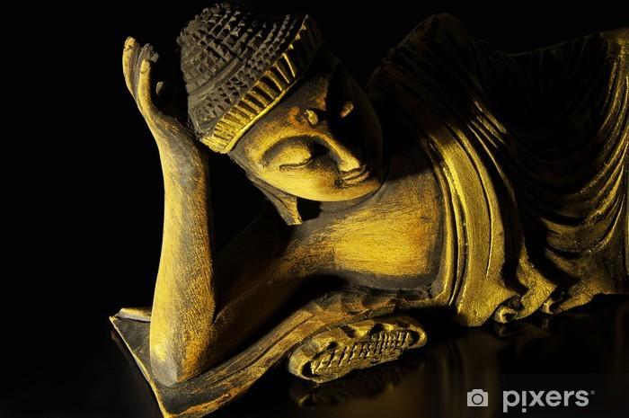Papier peint vinyle Le bois de teck Bouddha couché sur le noir - Thèmes