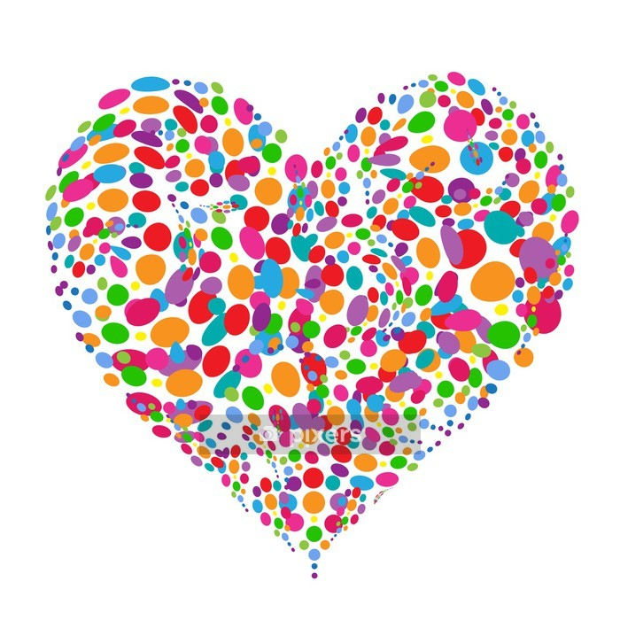 Funny colorful heart shape design Wall Decal - Abstract