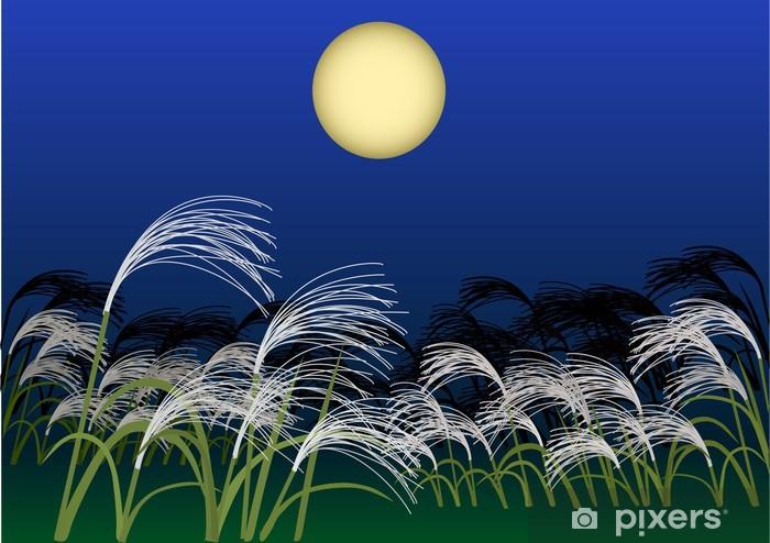 Naklejka Pixerstick Hara z trawy pampasów w noc pełni księżyca - Pory roku