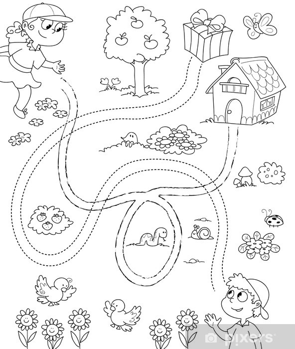 Adesivo Gioco Per Bambini Labirinto In Bianco E Nero Pixers