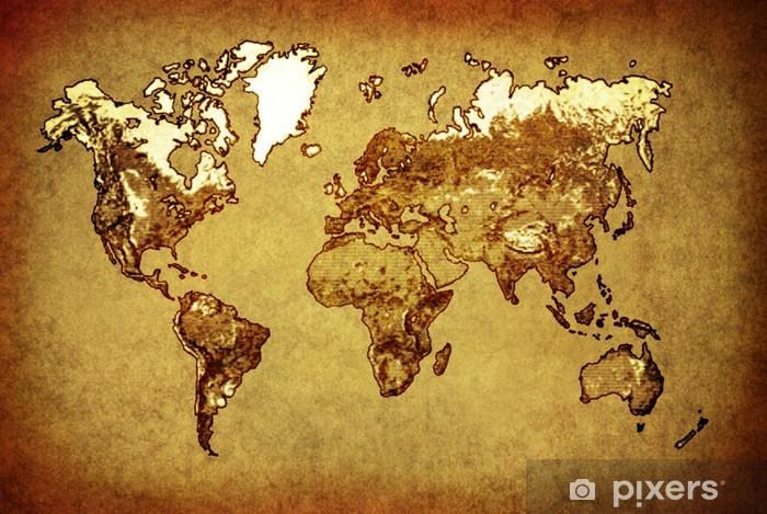 Fototapete Alten Karte Welt Auf Altem Papier Pixers Wir Leben