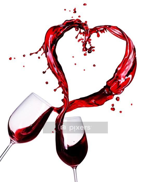 Naklejka na ścianę Dwa kieliszki czerwonego wina plusk abstrakcyjne serca - Naklejki na ścianę