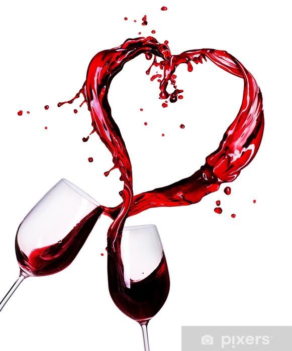 Fototapeta winylowa Dwa kieliszki czerwonego wina plusk abstrakcyjne serca - Naklejki na ścianę