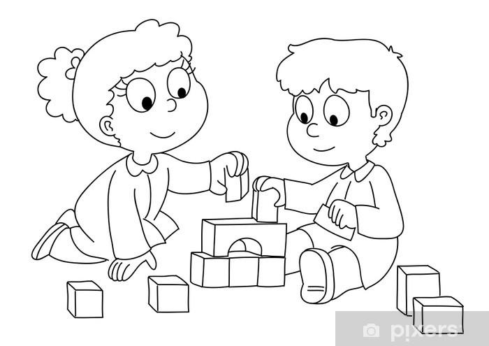 Fototapete Bambini Che Giocano Con I Cubetti Bianco E Nero