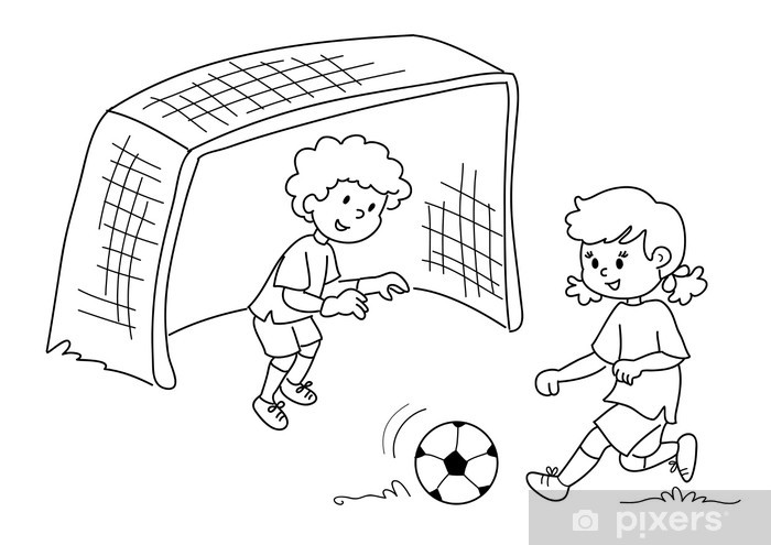 Vinilo Niños Jugando Al Fútbol Blanco Y Negro Pixerstick