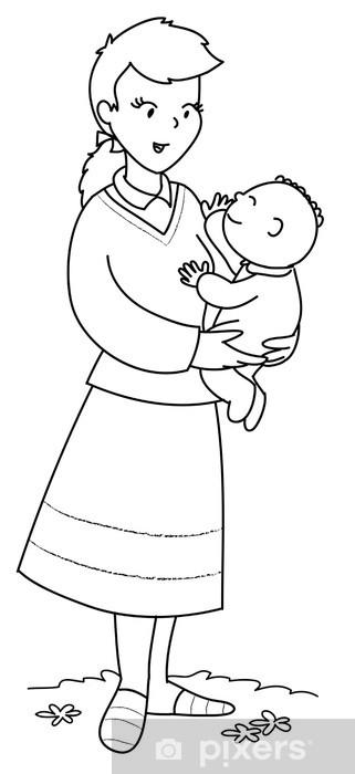 Adesivo Mamma Con Bambino Piccolo In Braccio Da Colorare Pixers